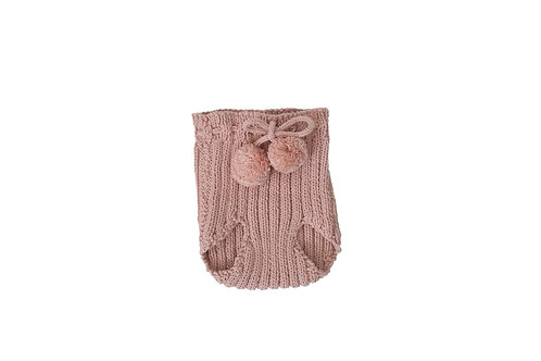 Hand Knitted Ribbed Pom Pilchers Pink 3-6mths