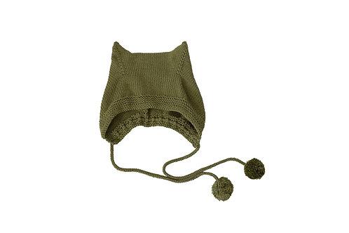 Kitty Pom Bonnet Green 2-4yrs