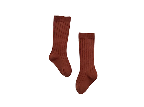 Knee High Ribbed Socks - Rust