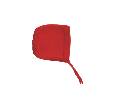 Hand Knitted Red Bonnet 6-12mths