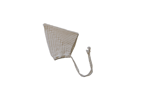 Hand Knitted Ribbed Pixi Bonnet Cream Newborn