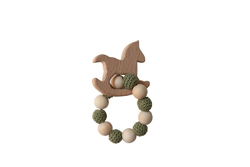 Wooden Rocking Horse Teether -Green