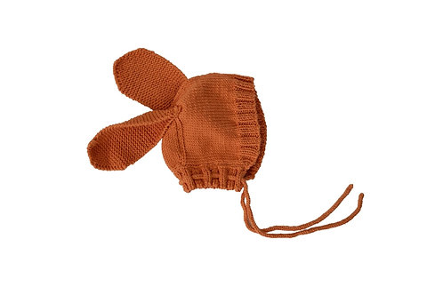 Hand Knitted Bunny Bonnet Apricot 1-2yrs