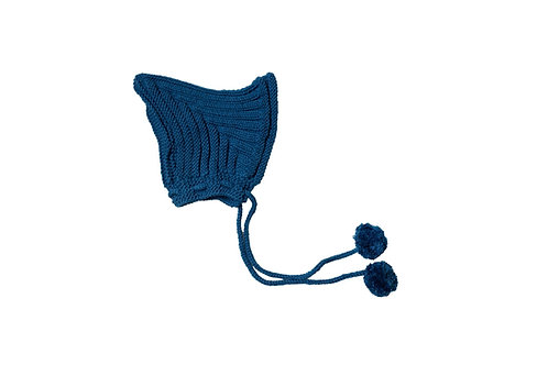 Hand Knitted Ribbed Pixi Bonnet Blue 1-2yrs