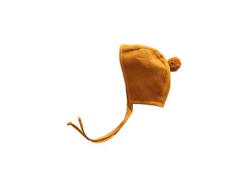 Plain Linen Helmet Pom Bonnet -Bespoke