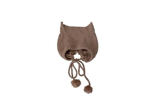 Kitty Pom Bonnet Beige 6-12mths