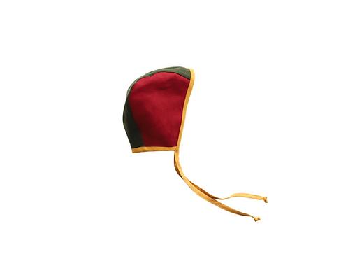 Two Tone Reversible Linen Helmet Bonnet - Marsala, Military Green & Mustard