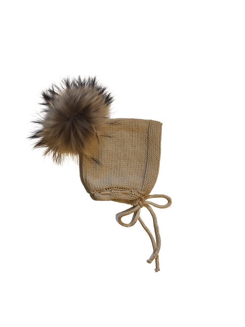 Hand Knitted Fur Pom Pixi Bonnet Wool