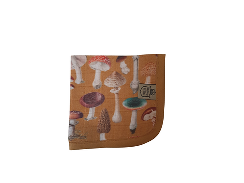 Exclusive Mushroom Muslin Burp Cloth - Mustard