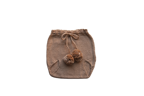 Knitted Pom Pilchers/Bloomers Beige 6-12mths