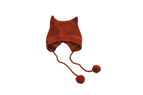 Kitty Pom Bonnet Burnt Orange 6-12mths