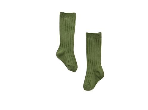 Knee High Ribbed Socks - Green