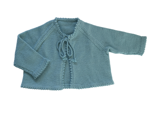 Knitted Cardigan Wool - Duck Egg Blue, 2yrs