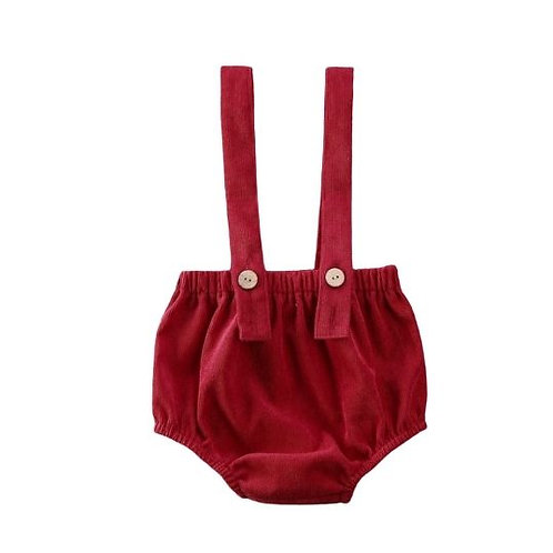 Baby Bloomers With Straps - Red
