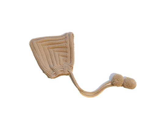 Hand Knitted Ribbed Pixi Bonnet Winter White Newborn