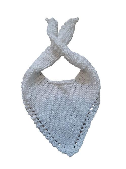 Knitted Baby Bib - White