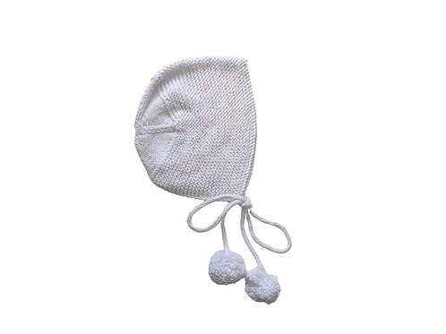 Hand Knitted Ava Bonnet 2-3yrs White