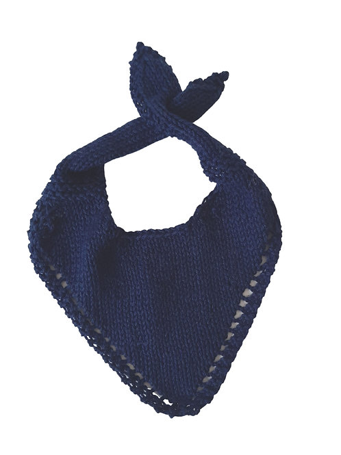 Knitted Baby Bib - Navy