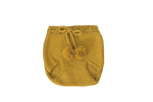 Knitted Pom Pilchers/Bloomers Marigold Mustard Cotton 6-12mths