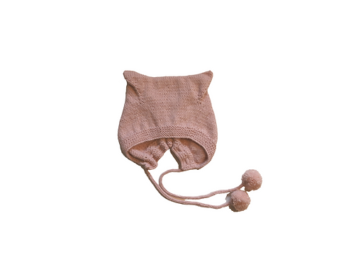 Hand Knitted Angora Kitty Bonnet - Pale Pink