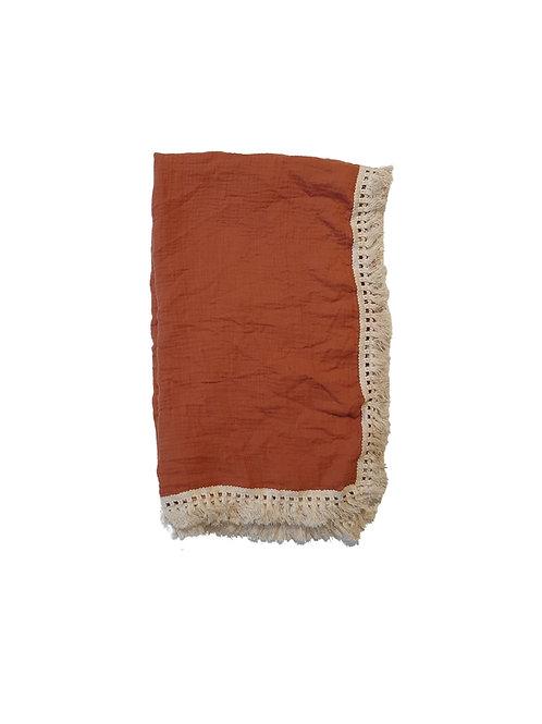 Muslin Tassel Baby Wrap - Earth Red