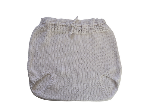Knitted Pilchers/Bloomers White Cotton 12-18mths