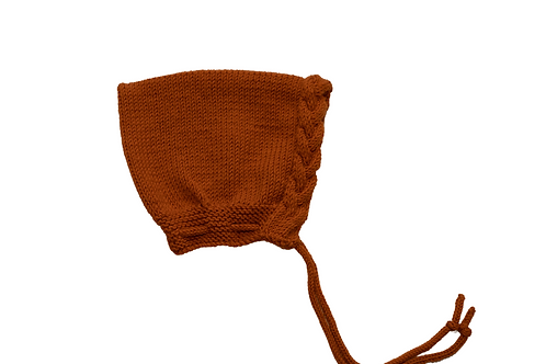 Hand Knitted Wool Cable Pixi Bonnet Burnt Orange 3-6mths