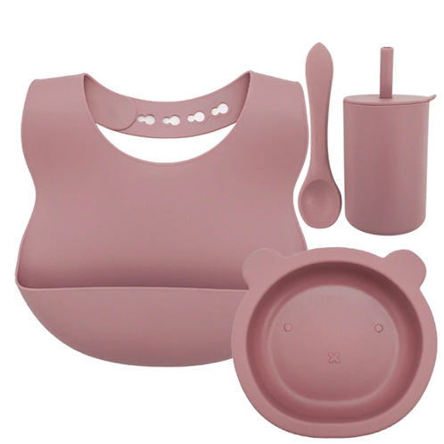 Silicone Baby Set - Dusty Pink