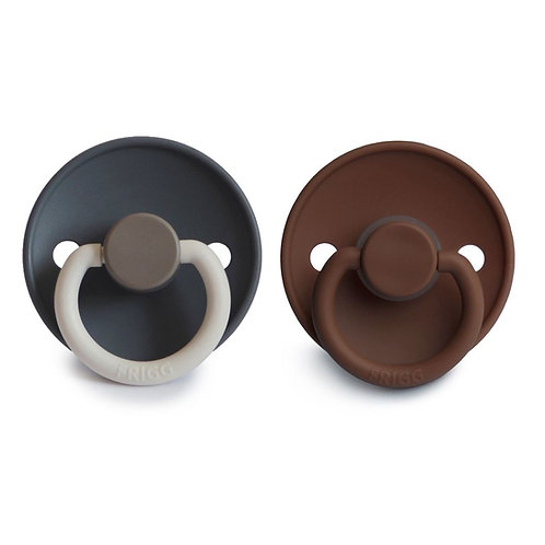 FRIGG Pacifier 2 Pack Colour Block Deep Sea & Chocolate