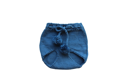 Knitted Pom Pilchers/Bloomers Blue 6-12mths