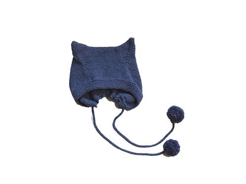 Hand Knitted Wool Kitty Bonnet - Blue 3-6mths