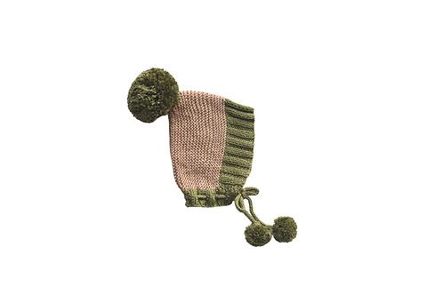 Hand Knitted Axel Bonnet - Beige &Green 12-18mths