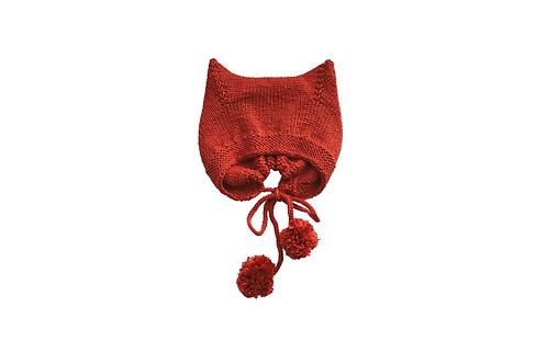 Kitty Pom Bonnet Rust 3-6mths