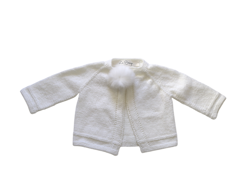 Hand Knitted Pom Cardigan