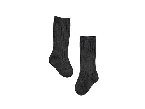 Knee High Ribbed Socks - Dark Grey