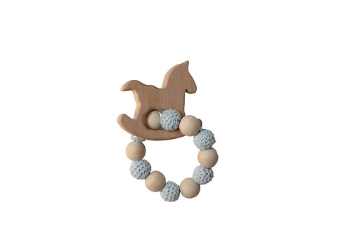 Wooden Rocking Horse Teether -Blue