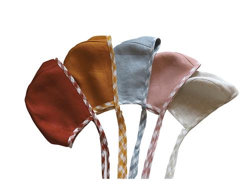 Gingham Linen Helmet Bonnet -Bespoke