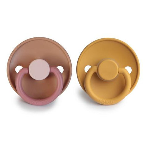 FRIGG Pacifier 2 Pack Colour Block Flamingo & Honey Gold