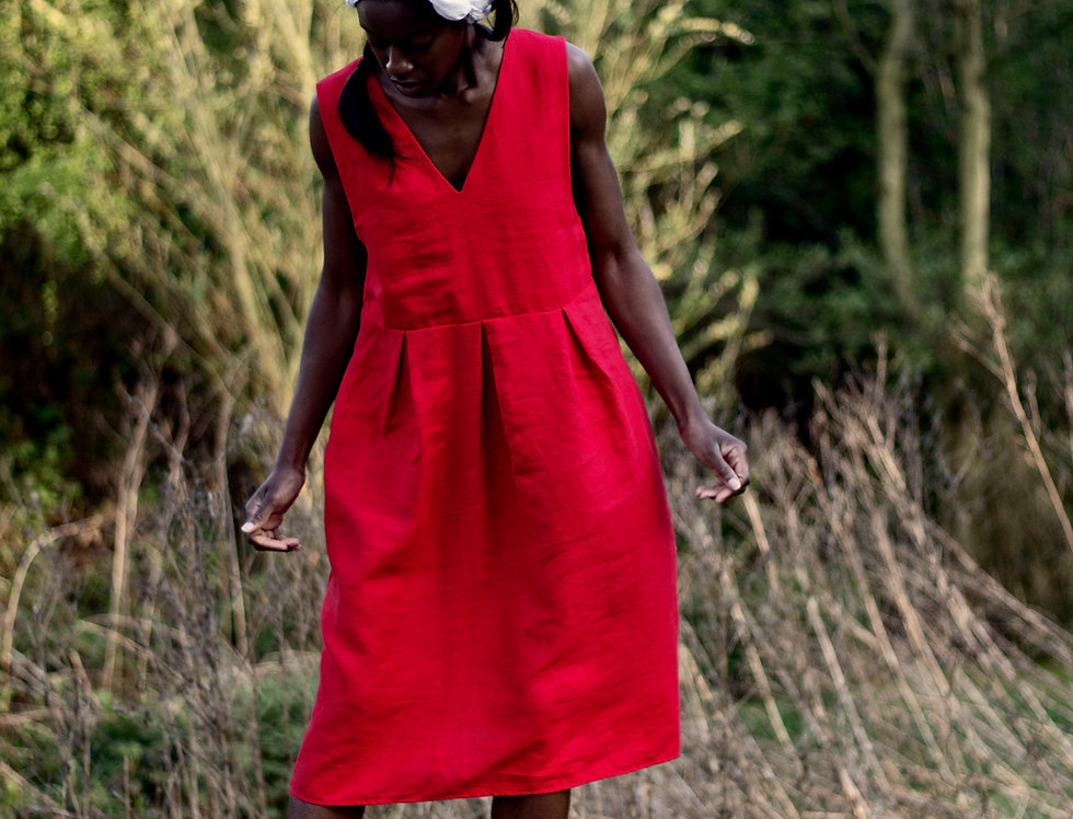 100% Linen Pinafore Dress Red