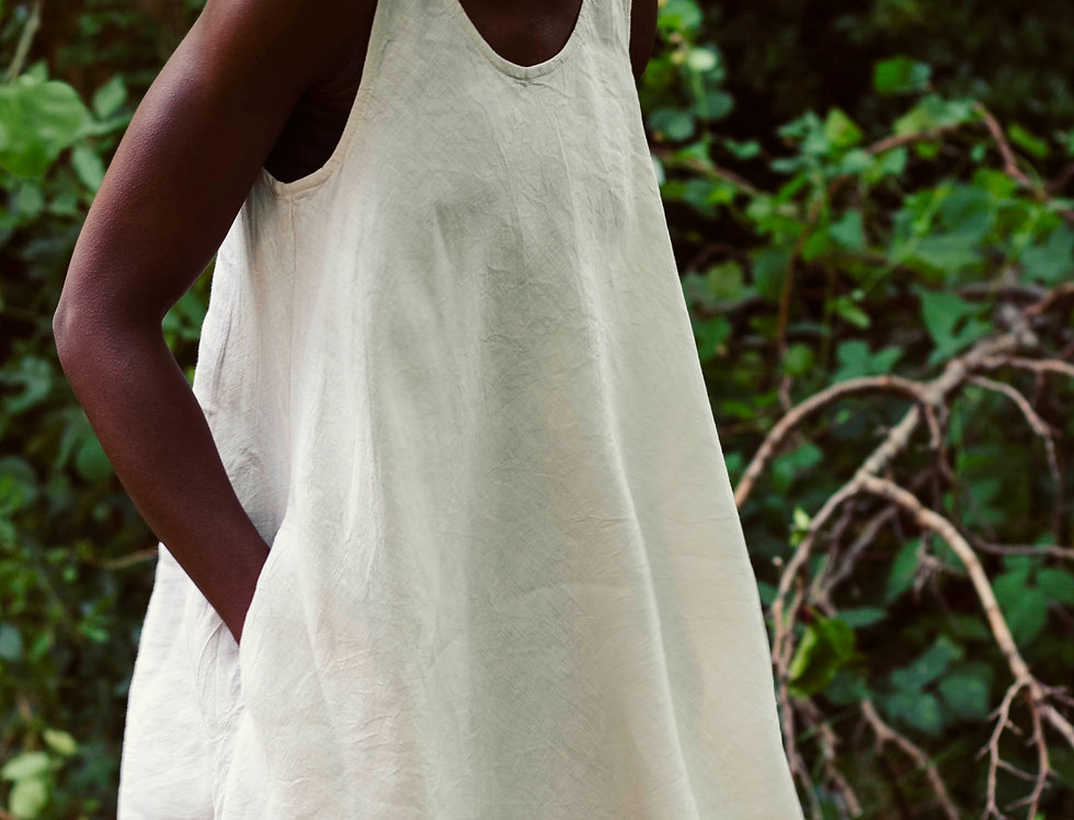 100% Linen Summer Dress Off White