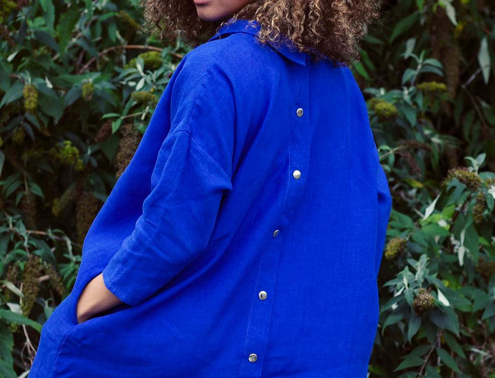 100% Linen 3/4 Sleeve Dress Royal Blue