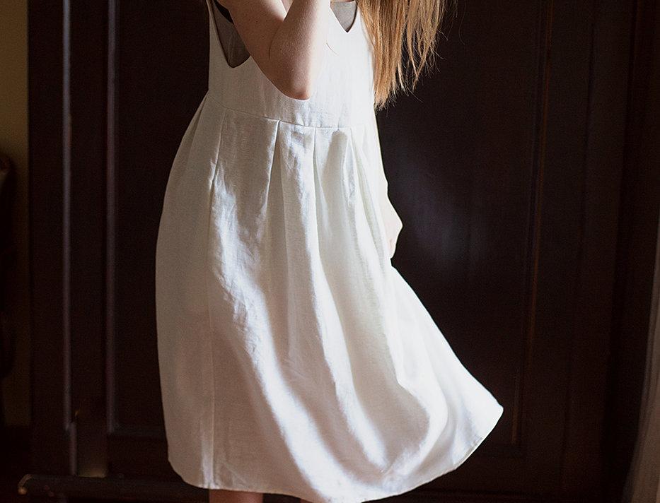 100% Linen Pinafore Dress White