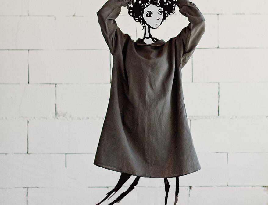 100% Linen Dress Grey