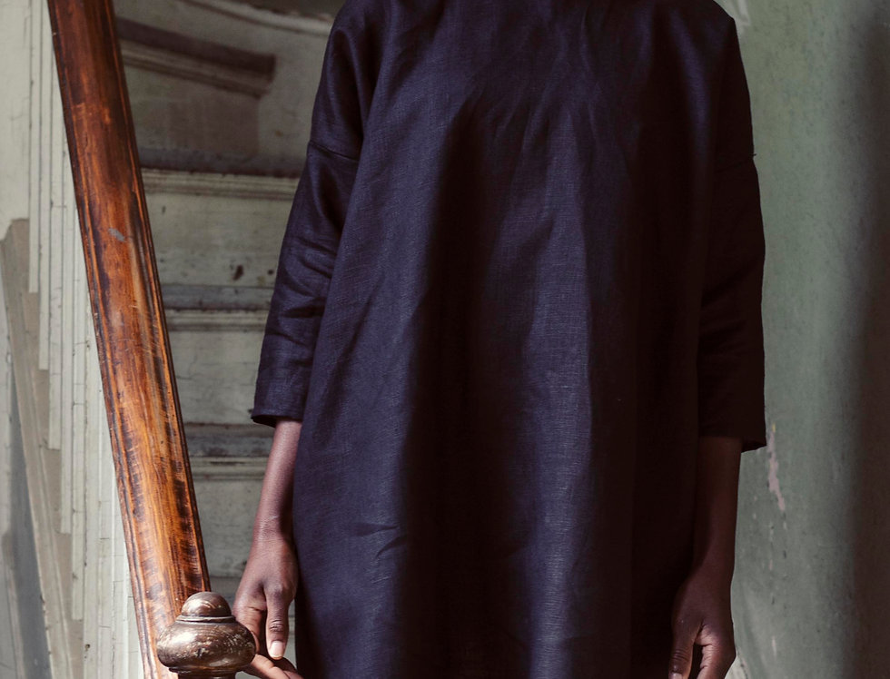 100% Linen 3/4 Sleeve Dress Black