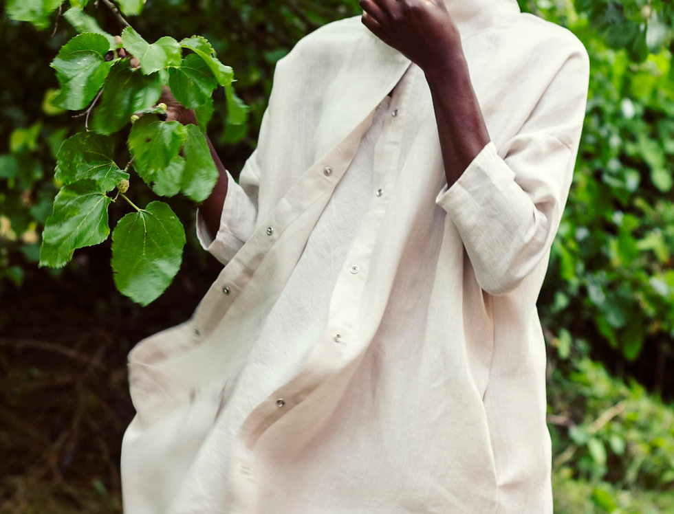 100% Linen 3/4 Sleeve Dress Off White
