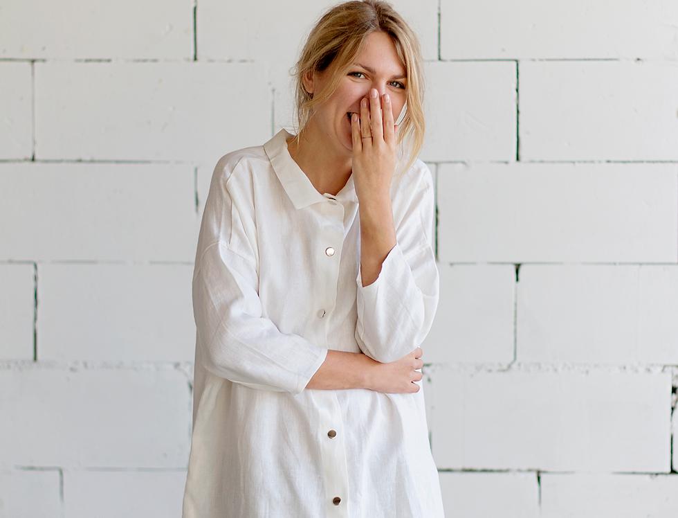 100% Linen 3/4 Sleeve Dress White