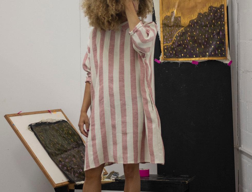 100% Linen 3/4 Sleeve Dress Candy Stripe