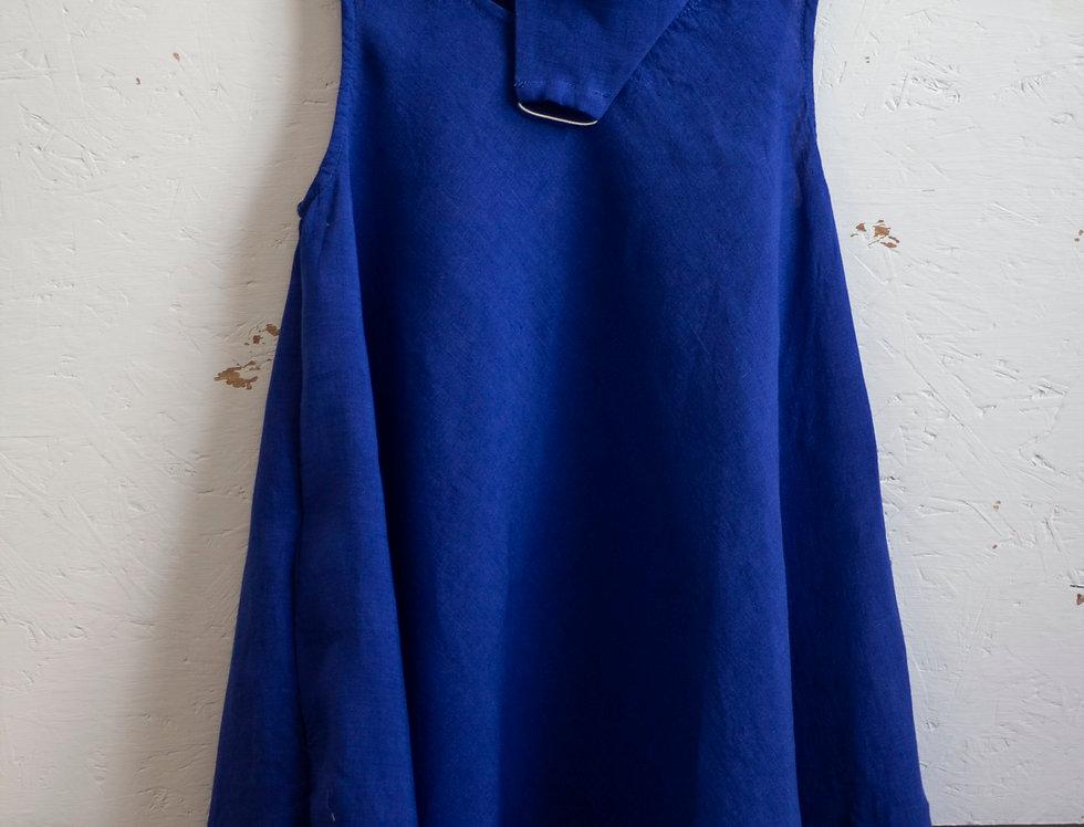 100% Linen Summer Dress Royal Blue