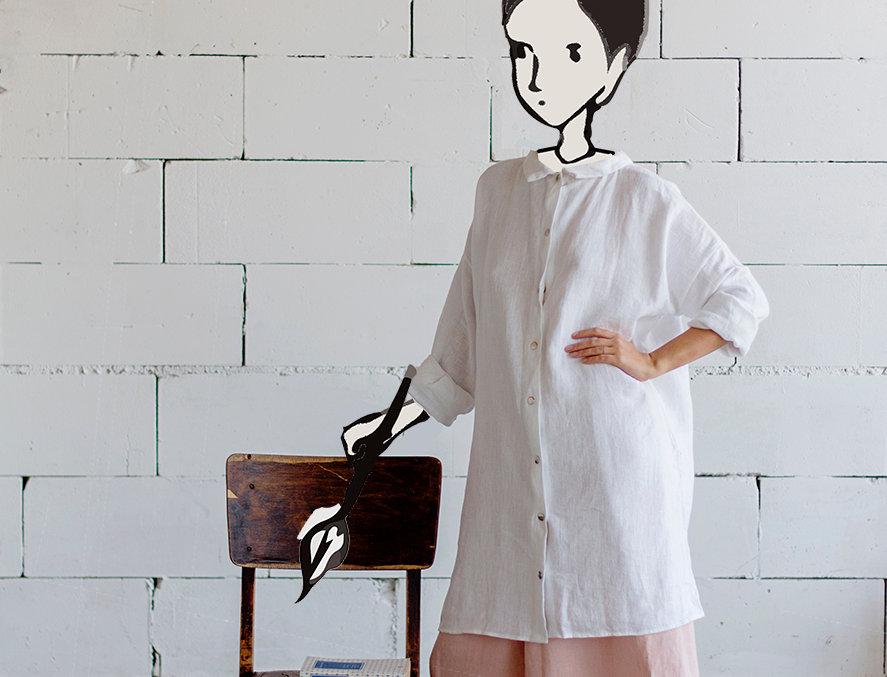 100% Linen Dress White