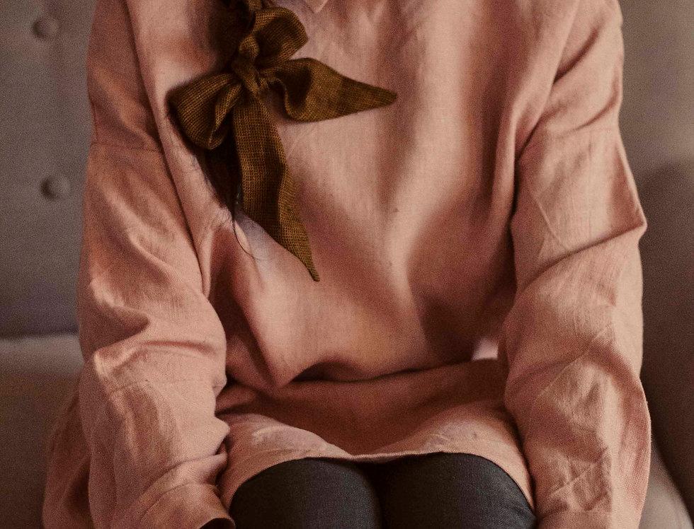 100% Linen Dress Peach